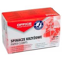 Spinacze krzyżowe OFFICE PRODUCTS, 41mm, 50szt., srebrne, Spinacze, Drobne akcesoria biurowe