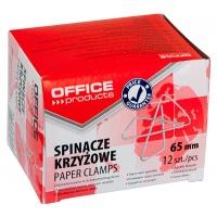 Spinacze krzyżowe OFFICE PRODUCTS, 65mm, 12szt., srebrne, Spinacze, Drobne akcesoria biurowe