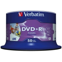 Płyta DVD+R VERBATIM AZO, 4,7GB, prędkość 16x, cake, 50szt., do nadruku, Nośniki danych, Akcesoria komputerowe