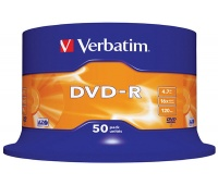 DVD-R VERBATIM AZO, 4.7GB, speed 16x, cake, 50 pcs, matt silver
