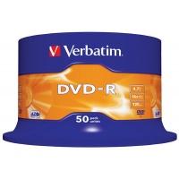 Płyta DVD-R VERBATIM AZO, 4,7GB, prędkość 16x, cake, 50szt., srebrny mat, Nośniki danych, Akcesoria komputerowe