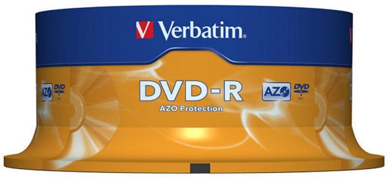 Płyta DVD-R VERBATIM AZO, 4,7GB, prędkość 16x, cake, 25szt., srebrny mat, Nośniki danych, Akcesoria komputerowe