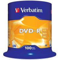 DVD-R VERBATIM AZO, 4.7GB, speed 16x, cake, 100 pcs, matt silver
