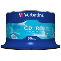 CD-R VERBATIM, 700MB, speed 52x, cake, 50 pcs, extra protection