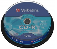 CD-R VERBATIM, 700MB, speed 52x, cake, 10 pcs, extra protection