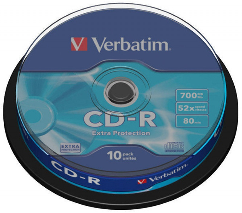 Płyta CD-R VERBATIM, 700MB, prędkość 52x, cake, 10szt., ekstra ochrona, Nośniki danych, Akcesoria komputerowe