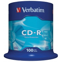 CD-R VERBATIM, 700MB, speed 52x, cake, 100 pcs, extra protection