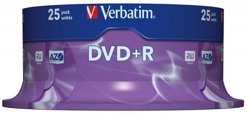 Płyta DVD+R VERBATIM AZO, 4,7GB, prędkość 16x, cake, 25szt., srebrny mat, Nośniki danych, Akcesoria komputerowe