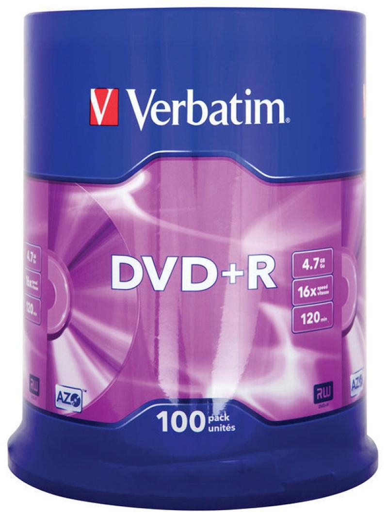 Płyta DVD+R VERBATIM AZO, 4,7GB, prędkość 16x, cake, 100szt., srebrny mat, Nośniki danych, Akcesoria komputerowe