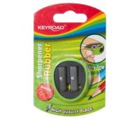 Temperówka KEYROAD, plastikowa, podwójna, z gumką, blister, mix kolorów, Temperówki, Artykuły do pisania i korygowania
