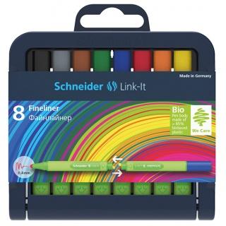 Cienkopis SCHNEIDER Link-It, 0,4mm, stojak - podstawka, 8szt. mix kolorów, Cienkopisy, pióra kulkowe, Artykuły do pisania i korygowania