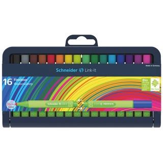Cienkopis SCHNEIDER Link-It, 0,4mm, stojak - podstawka, 16szt. mix kolorów, Cienkopisy, pióra kulkowe, Artykuły do pisania i korygowania