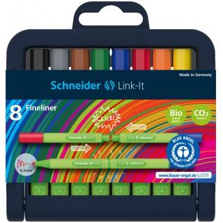 Flamaster SCHNEIDER Link-It, 1,0mm, stojak - podstawka, 8szt. mix kolorów, Flamastry, Artykuły do pisania i korygowania