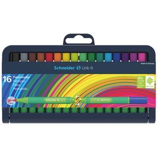 Flamaster SCHNEIDER Link-It, 1,0mm, stojak - podstawka, 16szt. mix kolorów, Flamastry, Artykuły do pisania i korygowania