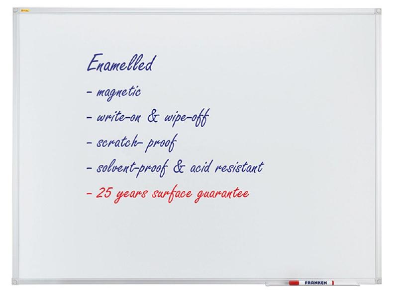 Dry-wipe & magnetic whiteboard, FRANKEN Xtra!Line, 90x60cm, porcelain, aluminum frame.