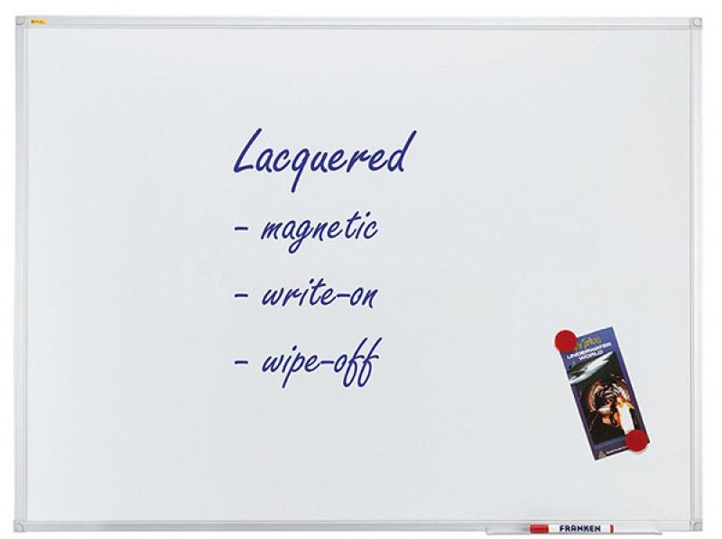 Dry-wipe & magnetic whiteboard, FRANKEN Xtra!Line, 120x90cm, lacquered, aluminum frame.