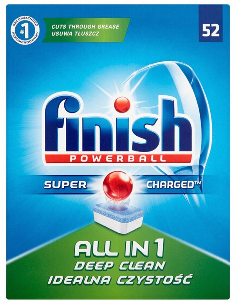 Dishwasher detergent tablets, FINISH All-in-one Powerball, 52pcs, regular