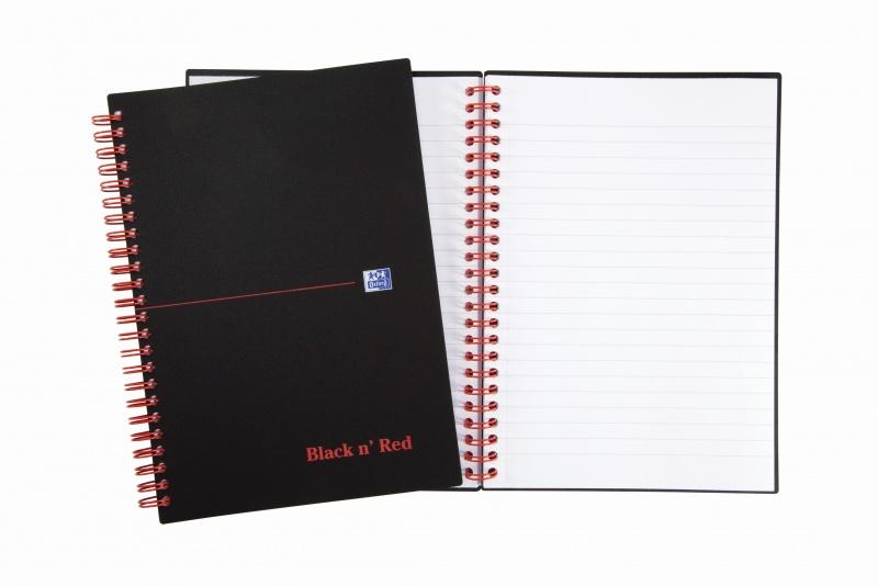 KOŁOZESZYT OXFORD BLACK n' RED A5 70K 90G LI, Kołonotatniki, Zeszyty i bloki