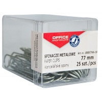 Paper clips, metal, OFFICE PRODUCTS, 77mm, in a box, 25 pcs, silver