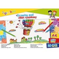 Blok rysunkowy GIMBOO, A4, 20 kart., 70gsm, biały, Bloki, Artykuły szkolne