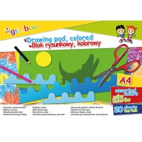 Blok rysunkowy GIMBOO, A4, 20 kart., 70gsm, mix kolorów, Bloki, Artykuły szkolne