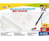 Blok techniczny GIMBOO, A4, 10 kart., 150gsm, biały, Bloki, Artykuły szkolne