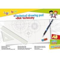 Blok techniczny GIMBOO, A3, 10 kart., 150gsm, biały, Bloki, Artykuły szkolne