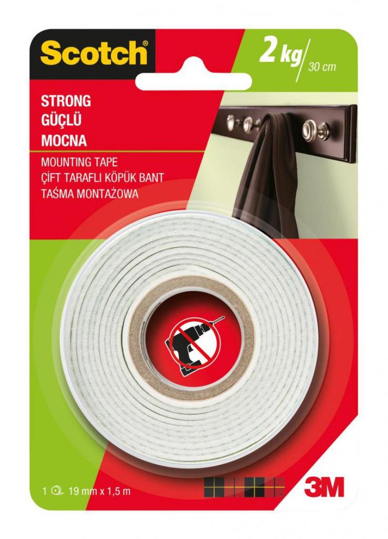 Taśma montażowa SCOTCH®, mocna, 19mm x 1,5m, biała, Taśmy specjalne, Drobne akcesoria biurowe