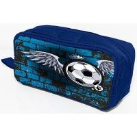 Piórnik-kosmetyczka DONAU Soccer Style, bez wyposazenia, 20x8x5,5cm, niebieski, Piórniki, Artykuły szkolne