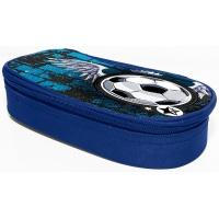 Piórnik-kosmetyczka DONAU Soccer Style, bez wyposazenia, owalny, 20x7,4x4cm, niebieski, Piórniki, Artykuły szkolne