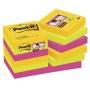 Bloczek samoprzylepny POST-IT® Super Sticky (622-12SSRIO-EU), 47,6x47,6mm, 12x90 kart., paleta Rio de Janeiro, Bloczki samoprzylepne, Papier i etykiety