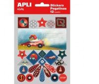 APLI Exercise book labels, pad, with stickers for boys, 12 + 1 sheets, assorted colours