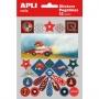 Etykiety na zeszyt APLI, w bloczku, z naklejkami dla chłopców, 12+1 ark., mix kolorów