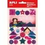 Etykiety na zeszyt APLI, w bloczku, z naklejkami dla dziewczynek, 12+1 ark., mix kolorów, Nietypowe, Artykuły szkolne