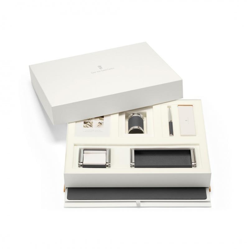 Duży zestaw akcesoriów na biurko marki Graf von Faber-Castell, czarne wykończenia., Zestawy, Organizacja na biurku