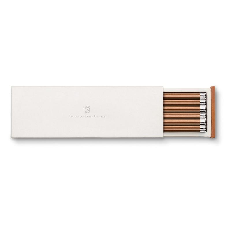 Ołówki No III marki Graf von Faber-Castell ze srebrną końcówką, kolor brązowy., Ołówki, Artykuły do pisania i korygowania