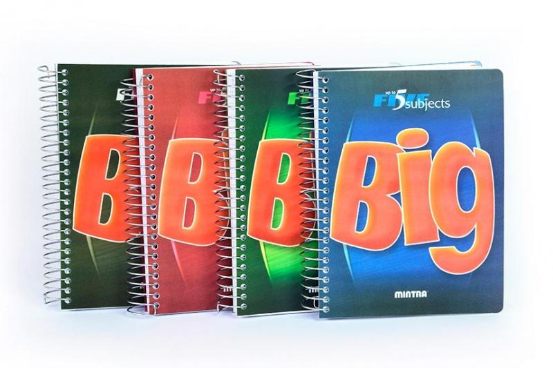 Kołonotatnik BIG, format A5, 160 kartek 80g/m2, przekładki 4x40, kratka, czerwony, Kołonotatniki, Zeszyty i bloki