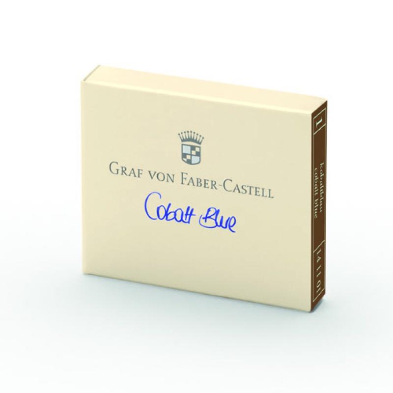 Naboje atramentowe marki Graf von Faber-Castell kolor Cobalt Blue – niebieski 6 szt., Atramenty, wkłady i naboje, Artykuły do pisania i korygowania