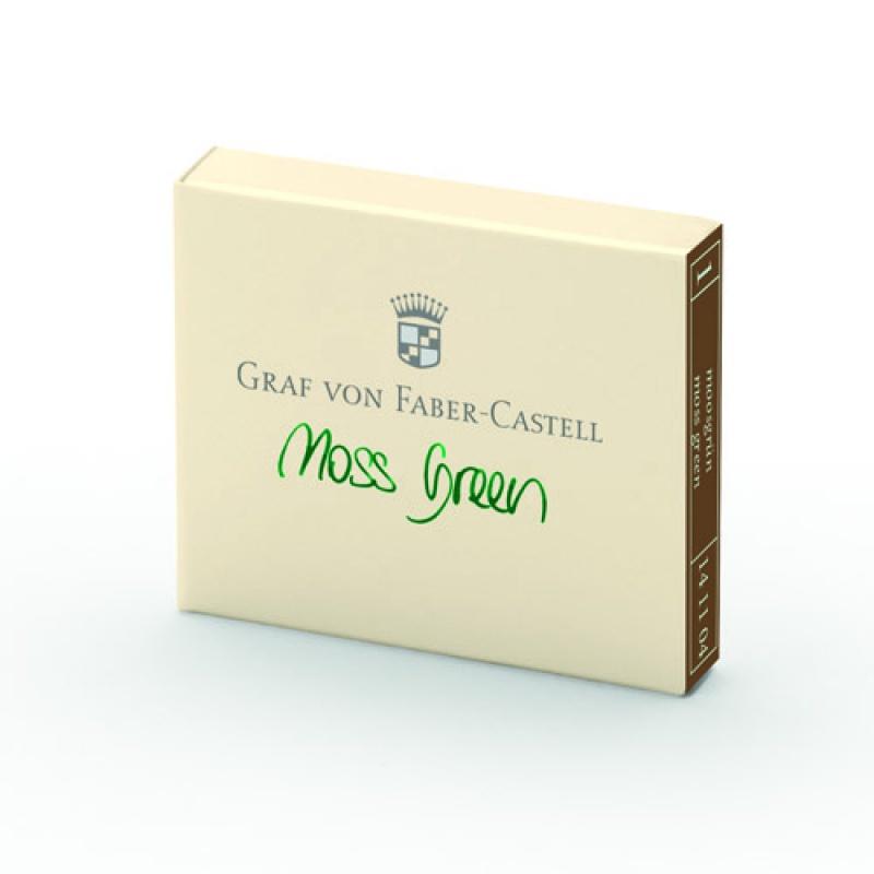 Naboje atramentowe marki Graf von Faber-Castell kolor Moss Green – zielony 6 szt., Atramenty, wkłady i naboje, Artykuły do pisania i korygowania