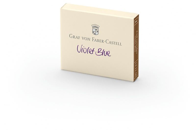 Naboje atramentowe marki Graf von Faber-Castell kolor Violet Blue – fioletowy 6 szt., Atramenty, wkłady i naboje, Artykuły do pisania i korygowania