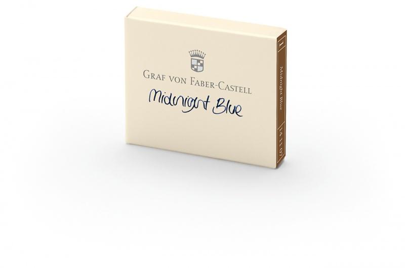 Naboje atramentowe marki Graf von Faber-Castell kolor Midnight Blue – granatowy 6 szt., Atramenty, wkłady i naboje, Artykuły do pisania i korygowania