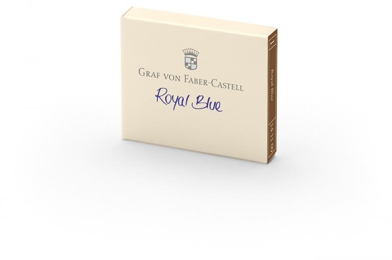 Naboje atramentowe marki Graf von Faber-Castell kolor Royal Blue – niebieski 6 szt., Atramenty, wkłady i naboje, Artykuły do pisania i korygowania