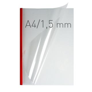 O.easyCOVER Double Clear A4 1.5mm czerwony 50szt, Oprawa dokumentów, Urządzenia i maszyny biurowe