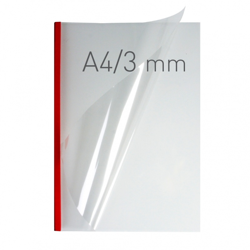 O.easyCOVER Double Clear A4 3mm czerwony 40szt, Oprawa dokumentów, Urządzenia i maszyny biurowe