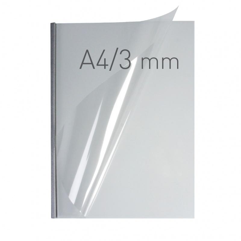 O.easyCOVER Double Clear A4 3mm srebrny 40szt, Oprawa dokumentów, Urządzenia i maszyny biurowe