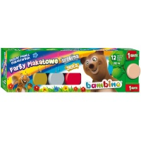 Farbki szkolne plakatowe Bambino 12 kolorów + 1 GRATIS, Farbki, Artykuły szkolne