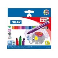 Flamstry MAXI Milan 12 kolorów ze stożkową końcówką, Flamastry, Artykuły szkolne