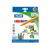 Flamastry Milan 12 kolorów ze stożkową końcówką, Flamastry, Artykuły szkolne