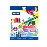 Kolorowe kredki rysunkowe Milan MAXI trójkątne pudełko 12 szt., Kredki i pastele, Artykuły szkolne