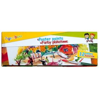Farby plakatowe GIMBOO, 12x20ml, mix kolorów, Produkty kreatywne, Artykuły szkolne